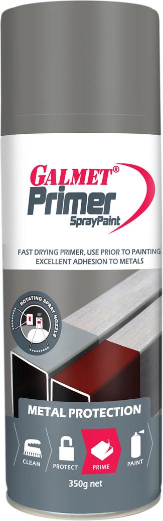 Galmet® Spraypaint Primer – Fast dry, easy sanding primer for steel, aluminium and galvanized surfaces