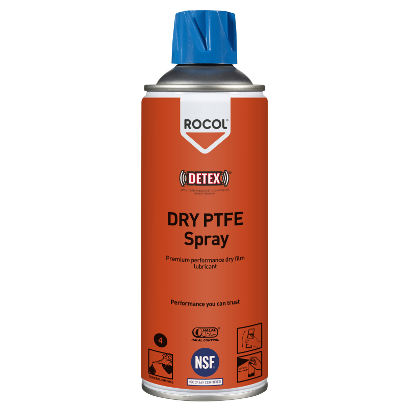 Dry PTFE Spray – Non-toxic, non-staining dry PTFE lubricant for use where wet lubricants cannot be tolerated. For use on slides, chutes & chains
