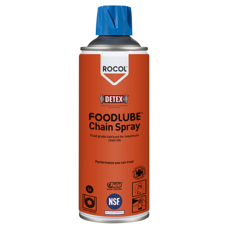 FOODLUBE Chain Spray – Food grade fully synthetic, water resistant chain lubricant for all types of chains & conveyors