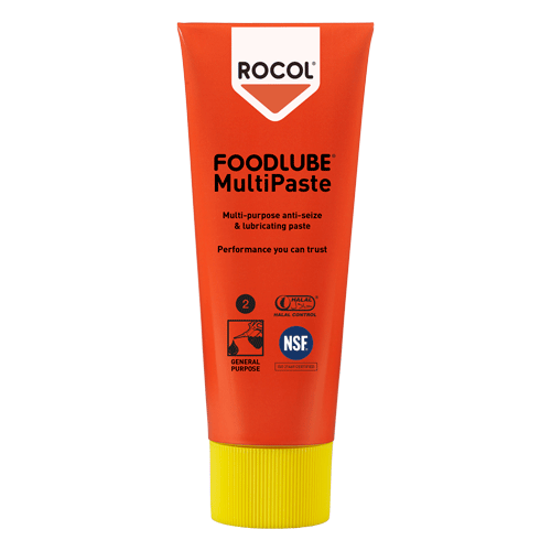 FOODLUBE Multi Paste – Food grade, white, non-toxic, anti-seize lubricating paste for use in food, pharmaceutical and other clean industries.  Ideal on plastics & stainless steel